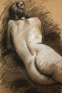 Willow charcoal, compressed charcoal, chalk