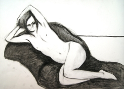 Compressed charcoal, charcoal pencil
